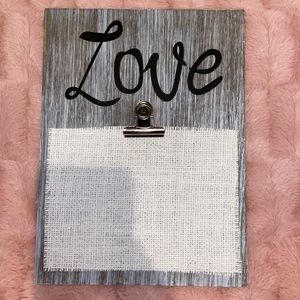 """Love"" clipboard, wooden hanging decor"